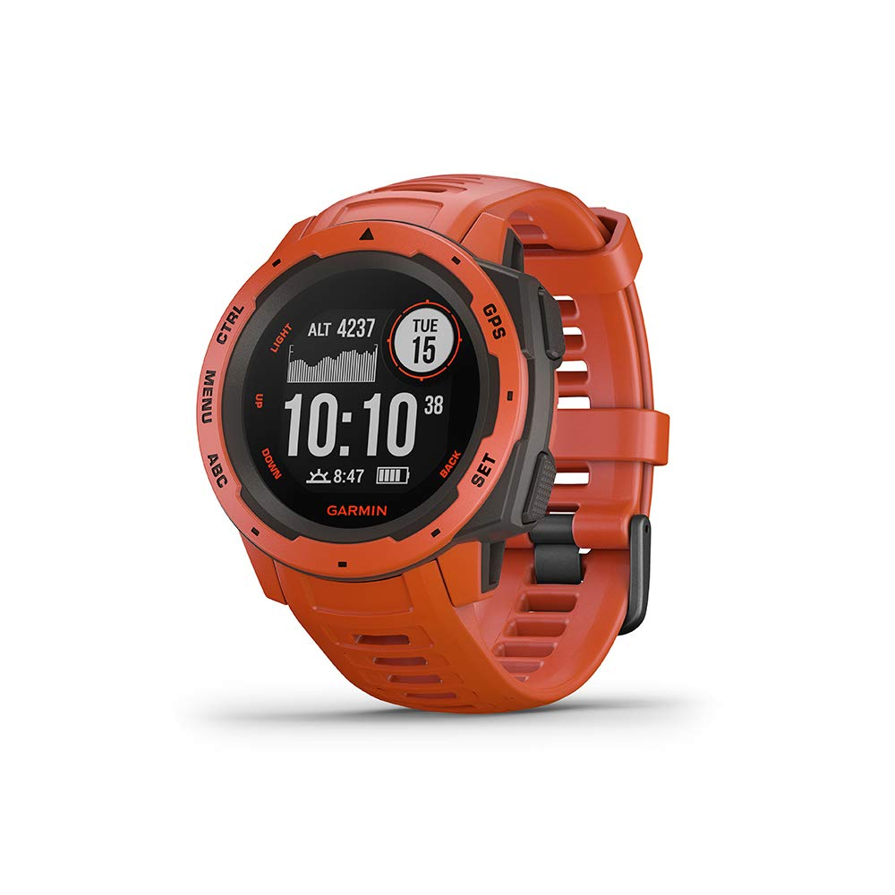 Garmin Instinct, Rugged Outdoor Watch with GPS, Features GLONASS and Galileo, Heart Rate Monitoring and 3-Axis Compass, Red by Garmin