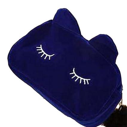 Westeng Bolso Cosmético para Mujeres Forma del Gato Maquillaje del Bolso con Cierre Cremallera Cosméticos Viaje Multifuncional de Neceser (Azul)