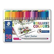 Staedtler Triplus Fineliner Pens - Johanna Basford Edition Metal Gift Tin of 50 Brilliant Colours - 0.3mm