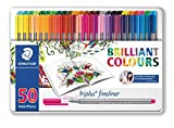 Staedtler Color Pen Set, 334M50JB - Set of 50 Assorted Colors in metal tin box (Triplus Fineliner Pens)