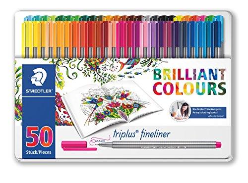 Staedtler Color Pen Set, 334M50JB - Set of 50 Assorted Colors in metal tin box (Triplus Fineliner Pens)