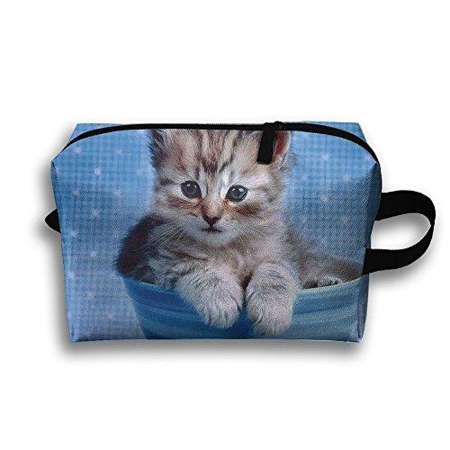 - Travel Jewelry Bag Cute Cats And Blue Cup Cosmetics Case Organizer Bag Zipper