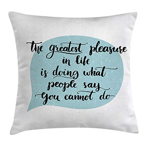Shirnaile_2ee Quote Decor Throw Pillow Cushion Cover by, Greatest Things in Life Motivational Quotation in a Talk Baloon Art, Decorative Square Accent Pillow Case, 18 X 18 Inches, White and -