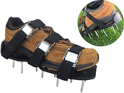Lawn Aerator Shoes - EXTRA NUTS INCLUDED! Heavy Duty, 3 Zinc Alloy Buckles, 3 Heavy Duty Nylon Straps, EXTRA NUTS and a wrench!!!