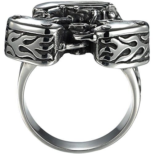 HooAMI Men's Stainless Steel Motorcycle Engine Biker Ring Black Silver,Size 13 by HooAMI (Image #1)