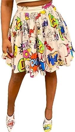MarcoJudy Womens Graffiti Pleated Skirts Cartoon Printed Elastic Waist Swing Mini Skirt