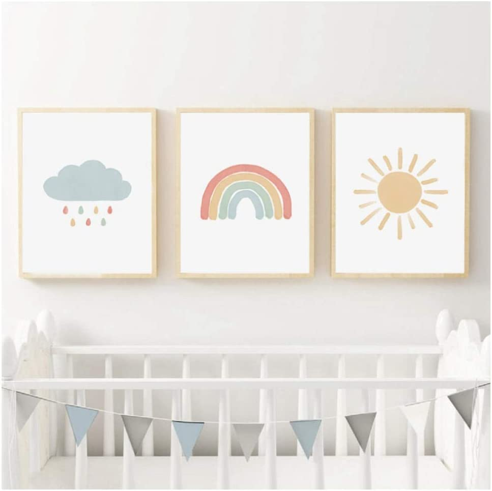 Rainbow Wall Art Watercolor Canvas Painting Neutral Nursery Decor Nordic Posters And Prints Wall Pictures Baby Kids Room Decor//40X50Cmx3 Pcs No Frame