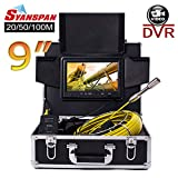 "Pipe Inspection Camera,SYANSPAN Waterproof IP68 Drain Sewer Pipeline Industrial Endoscope with Sony 9""Color LCD Monitor 8GB TF DVR Snake Video Camera System(20M)"