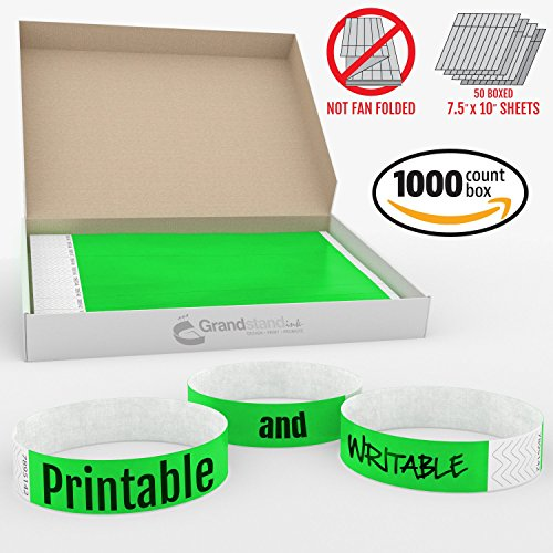 Grandstand Ink - 3/4in NEON GREEN Tyvek® Wristbands - Print & Writable Sheets in Distribution Box Paper Feel Party Event Bracelets For Churches or Schools 1000 ID Bands 100 Customizable Sheets Per Box (Ticket Printer Paper compare prices)