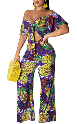 LightlyKiss Women Short Sleeves Summer Crop Tops Floral Long Pants Two Piece Outfits Purple
