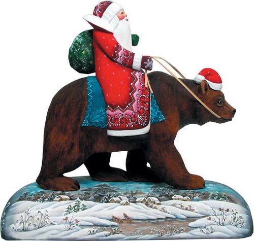 G. Debrekht Grizzly Bear Sant a Figurine, 11-Inch Tall, Mounted on Wooden Base, (Grizzly Bear Ornament)