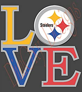 Love Pittsburgh Steelers Vinyl Decal Sticker Full Color (Car, Truck, Boat, Wall, Window, Etc.) from DimOxy Designs