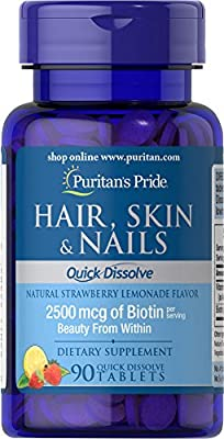 Puritan's Pride Quick Dissolve Hair Skin Nails-90 Tablets