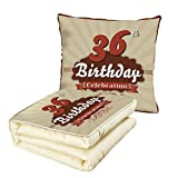 iPrint Quilt Dual-Use Pillow 36th Birthday Decorations Birthday Celebration Invite Chocolate Wrap Like Image Multifunctional Air-Conditioning Quilt Cinnamon and Brown