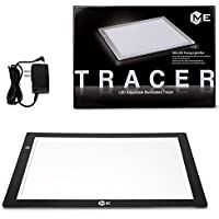 ME456 A3 LED Light Box 12x17 Inch Light Pad 12V DC Power Light Table for Tracing (Black)