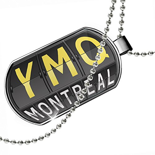 Dogtag YMQ Airport Code for Montreal Dog tags necklace - - Shops Airport Montreal