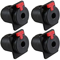GLS Audio 1/4 Jacks TS and TRS Panel Mount Jack Locking Style D Series Size - 4 Pack
