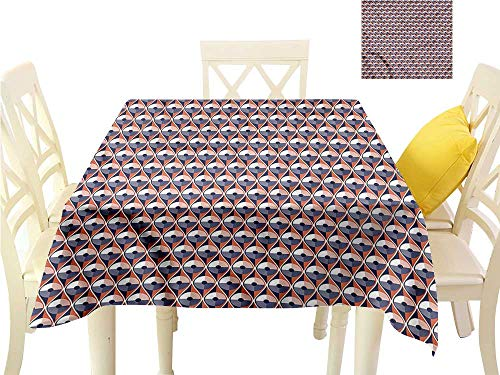 WilliamsDecor Printed Tablecloth Modern,Wavy Lines Circles Dots Fabric Tablecloth W 36