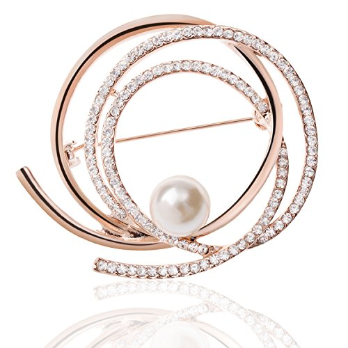 Tagoo Multi Circles Crystal Pearl Brooches Pins Scarf Clips Corsages for Women&Girls, (D)