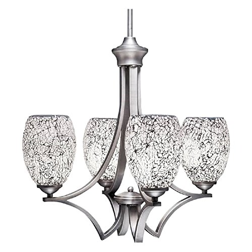 Toltec Lighting 564-GP-4165 Zilo 4 Light Chandelier with 5″ Black Fusion Ice Glass, Graphite Finish