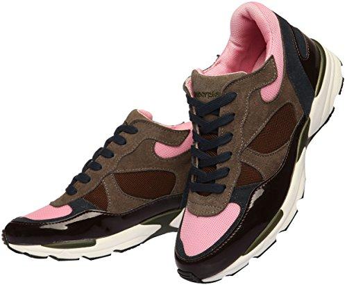 Paperplanes-1319 Damesmode Klassiek Leer Hoge Sneakers Schoenen Zwart Roze