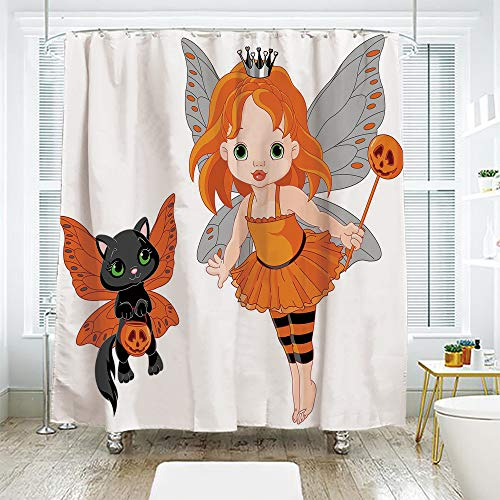 scocici Simple Creative Bath Curtain Suit Shade Curtain,Halloween,Halloween Baby Fairy and Her Cat in Costumes Butterflies Girls Kids Room Decor Decorative,Multicolor,94.4