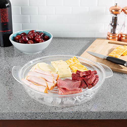 IT1086 Cold Serving Tray Platter with Ice Chamber, Lid and 3 Compartments-Chilled Divided Bowl for Fruit, Veggies, Cheese, and More, Clear ()