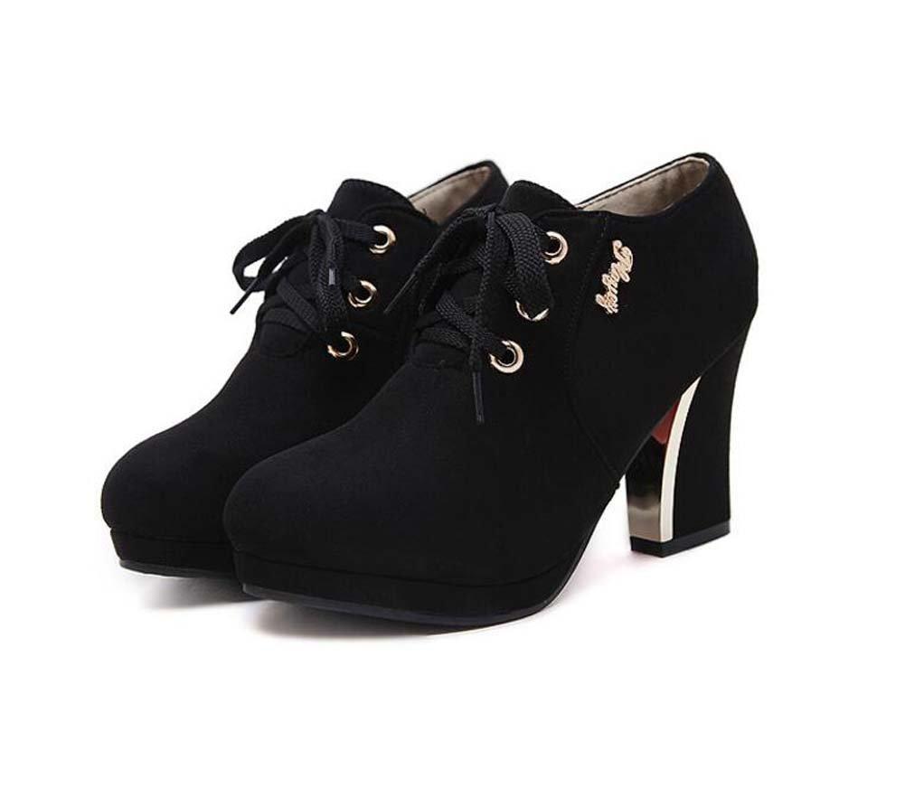Frauen Pumpe 9 cm Chunkly Ferse Runde Kappe Lace-up Kleid Schuhe Mode Wildleder Reine Farbe OL Gericht Schuhe Eu Größe 36-43