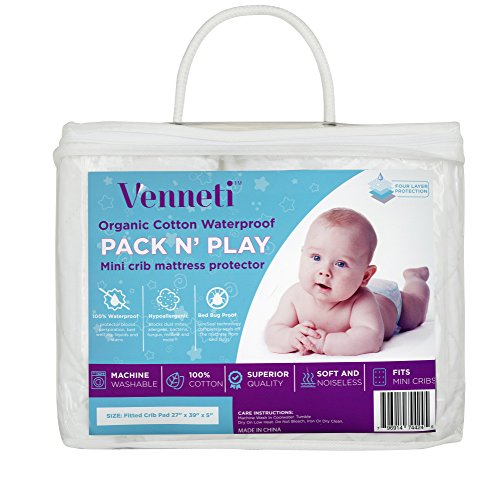Pack N Play Mattress Protector - Organic Cotton Premium Quality Waterproof Mattress Cover for Newborn - Hypoallergenic and Breathable Fabrics - Soft and Comfortable