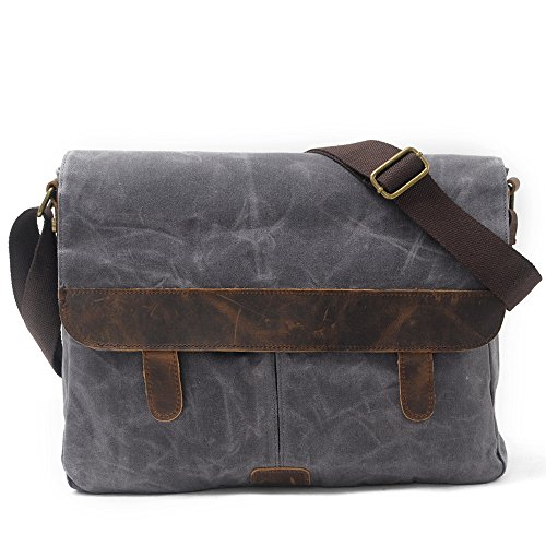Day Crossbody Vintage Work Laptop Black Canvas And Gray color For School Multiple Casual Briefcase Messenger Pocket Men's Large Shoulder Unisex Bag 7xpOzq4w