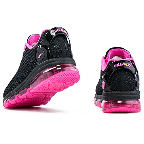 Onemix Womens Casual Air Sneakers Colorful Reflections Athletic Sports Running Shoes Rosa