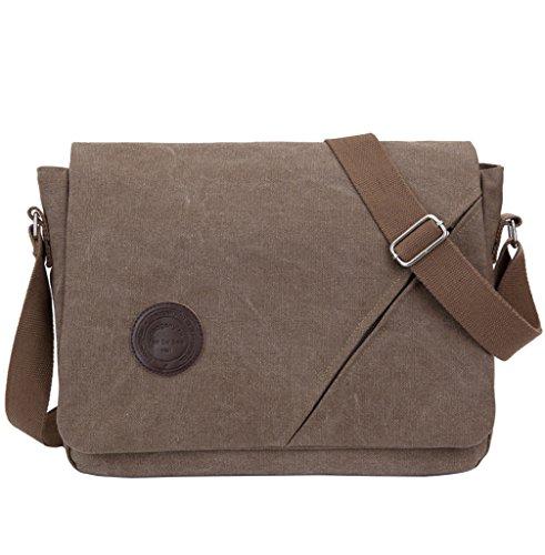 Super moderno para hombre Vintage Canvas hombro Messenger Bag Crossbody Bolsa de Trabajo/día portátil bolsa para Escuela de Negocios Traval uso diario, hombre, caqui café