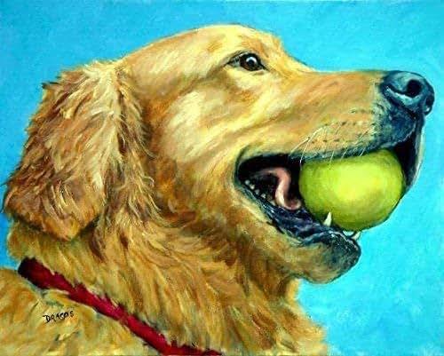 Amazon.com: Golden Retriever Dog Art Print, Goldie with