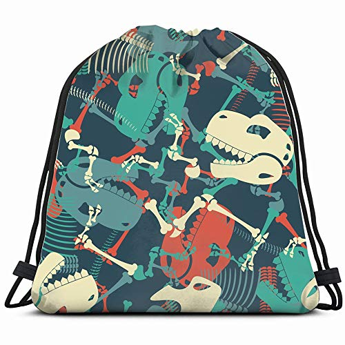 Skeleton Dinosaur Dino Bones Animals Wildlife Drawstring Backpack