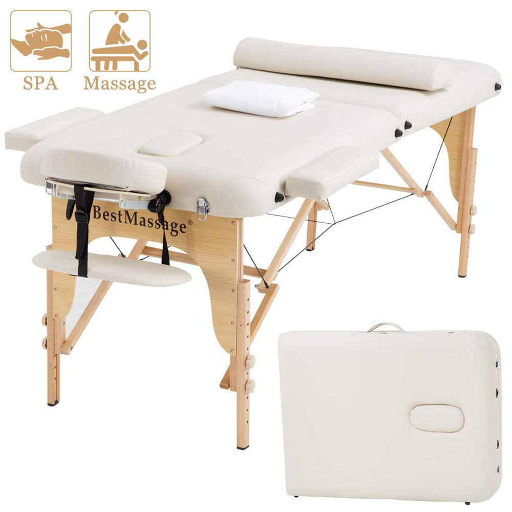 Tyyps Portable Massage Table 2 Fold - 73 Inch Spa Bed Hight Adjustable, Aluminium Massage Bed W/Half Bolsters Salon Bed,Cream by Tyyps