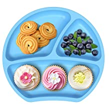 Silicone Divided Plate Baby Bowl Strong Table Suction Fits Most Highchair Trays Dishwasher Safe (Blue)