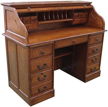 Chelsea Home 54 in. Mylan Roll Top Desk in Burnished Walnut