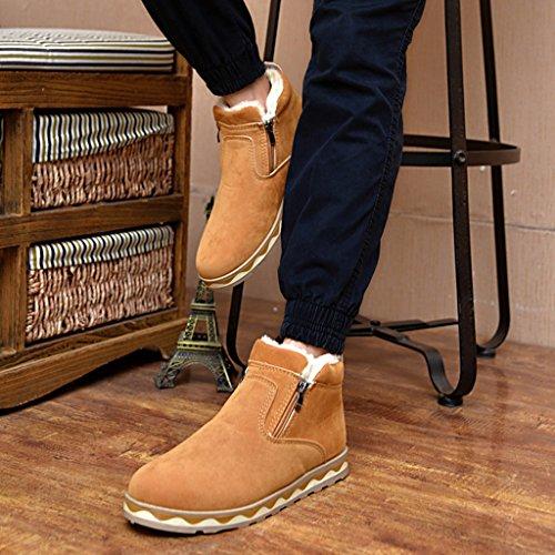 SITAILE Bottes Plates Suédé Automne Hiver Fermeture Eclair Boots Chaudes Cheville Boots Chaudes Brun 0pRTYq0