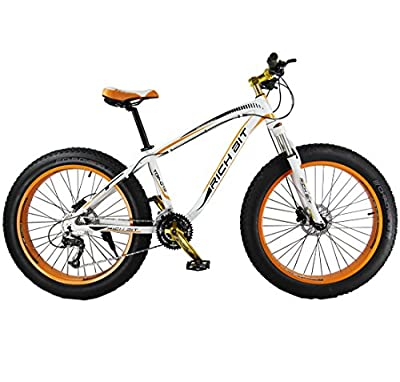 Richbit 2015 New Updated Orange White Snow Bike Fat Tire Mountain Bicycle with Suspension Fork 27 Speeds Hydraulic Disc Brakes for Beach Off Road
