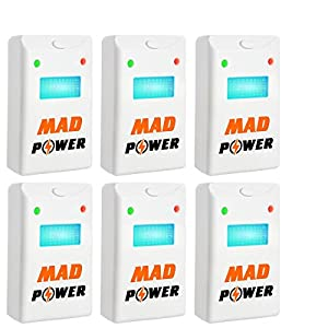 Pest Repeller - BEST Control 6-Pack with TRIPLE Power [Ultrasonic + Electromagnetic + Nightlight] - Plug-In Electronic Home Repellent Anti Mice, Ant, Roach, Mosquito, Outdoor/Indoor