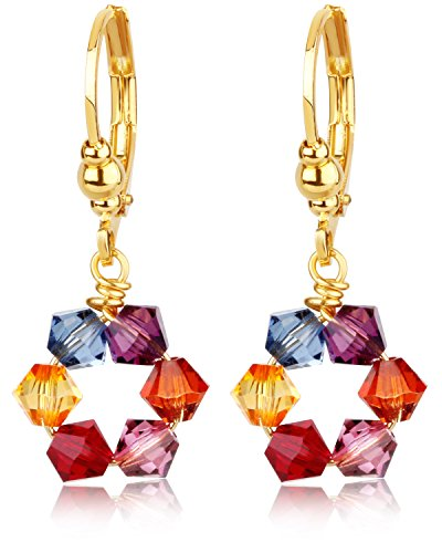 Swarovski Multicolored Crystal Dangle Earrings -24K Gold Coated - By Clecceli (Gold Multi Colored Crystal)