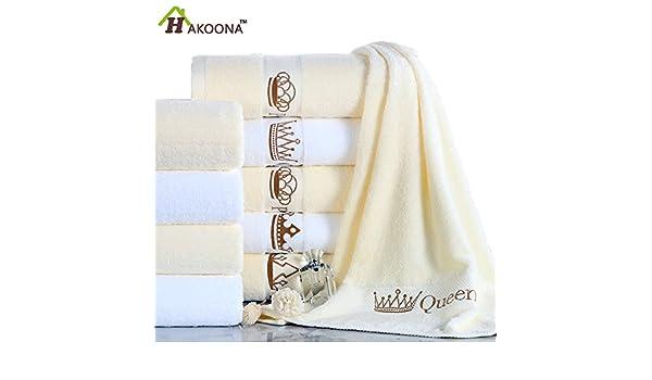 Generic Reina Beige Color, 70 x 140 cm 600 Gramos: Hotel Rey Reina corona bordado blanco beige toallas de ducha de 140 x 70 cm 100% algodón Toallas de baño ...