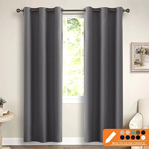 Gray Blackout Curtains for Living Room - PONY DANCE Solid Thermal Insulated Blackout Curtain Panels Light Blocking Draperies for Window Treatments Decor, 42 wide by 72 inch long, Grey Color, 2 Panels (Panels Curtain 72 Long)