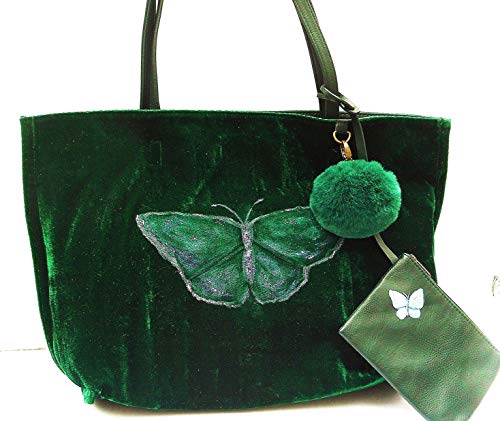 Painted Butterfly Long Handles Emerald Green Velvet Large Lined Tote Overnight Bag for Women with Purse
