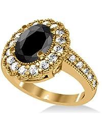 14k Gold Allurez Black Diamond and Diamond Oval Halo Milgrain Edged Engagement Ring (2.78ct)