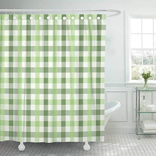 (Emvency Fabric Shower Curtain with Hooks Purple Plaid Earthy Green Gingham Pattern Sage Abstract Celebration Check Checkered 72