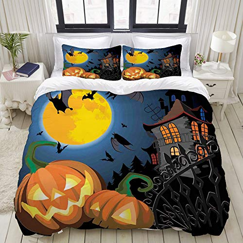 VAMIX Gothic Halloween Haunted House Party Theme Design Trick or Treat Motifs Print College Dorm Room Decor Decorative Custom Design 3 PC Duvet Cover Set Full]()