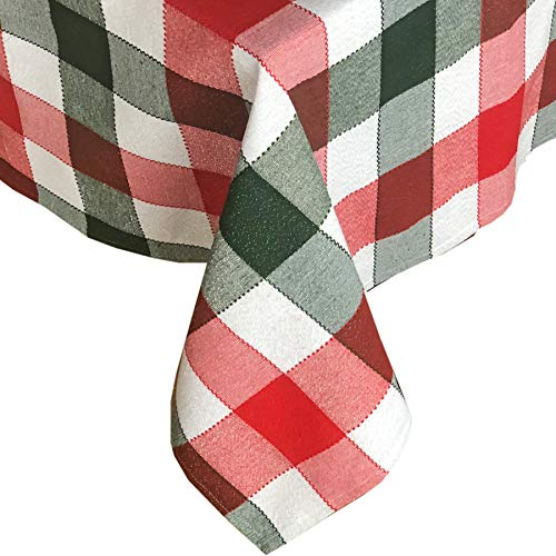 (Lintex Metallic Christmas Holiday Plaid Fabric Tablecloth, Red and Hunter Green Cottage Plaid Cotton Blend Tablecloth, 60 Inch x 120 Inch)