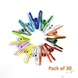 """Multi-Purpose Clothesline Utility Clips, Assorted Colors PVC Coated 2"""" Steel Wire Clips, Clothespeg, Gathering Clip, Sealing Clip, Office Home Used ( 30 Pieces )"""