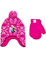 Disney Frozen Anna Elsa Peruvian Beanie Hat and Mittens Set Little Girls' 2T-5T